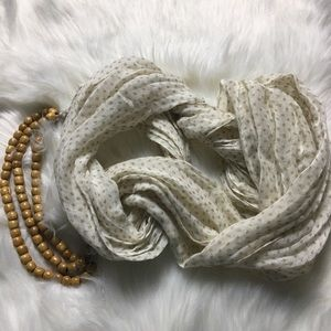 Anthropologie Polka Dot Infinity Scarf Wood Beads